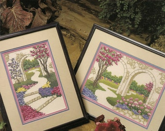 Floral Cross Stitch Pattern Counted Vintage Cross Stitch Patterns Cross Stitch Leaflet Garden Walls