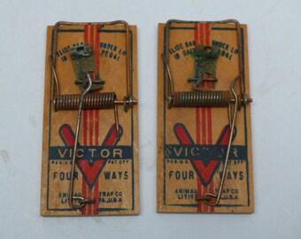 Vintage Victor Mouse Traps - Mouse Traps - Pair