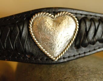 """Leather Belt Silver Heart Accent Western Style  Size  32"""""""