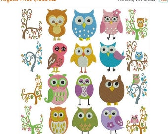 ON SALE OWLS 1 - Machine Filled Embroidery - Instant Digital Download