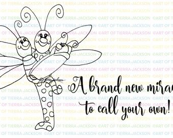 New Baby dragonfly family - digital stamp by Tierra Jackson