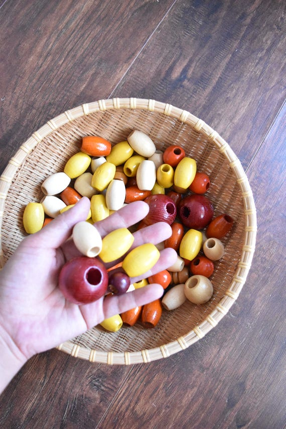 vintage 1970s large wooden beads / yellow brown / craft