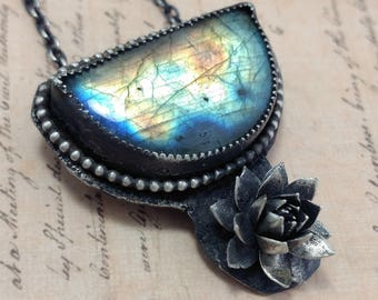 Labradorite Necklace Sterling Silver Necklace Flower Necklace World Map Handcrafted Jewelry Unique Jewelry OOAK One of A Kind 20 22 Stone