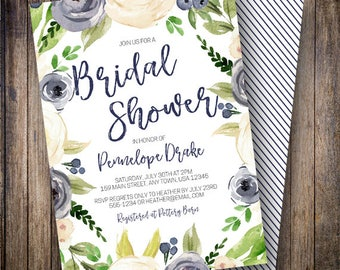 Floral Bridal Shower Invitation, Rustic, Watercolor Flowers, Boho Wedding Shower, Navy, Cream, Green, White, 907