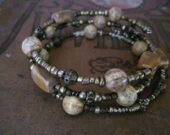 Beaded Memory Wire Bracelet Multi Strand Vintage Bronze  Wrapped Bracelet