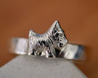 Scottie Dog Ring, Sterling Silver Scottish Terrier Ring, Custom Engraved Dog Lovers Jewelry, Personalized Gift, Pet Memorial Ring