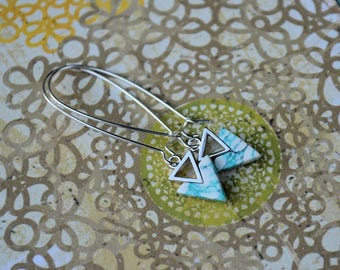 Double Trouble Marbled Blue Mint Triangle Earrings-wedding, bridesmaid, something blue, hostess gift, stocking stuffer, push present, prom