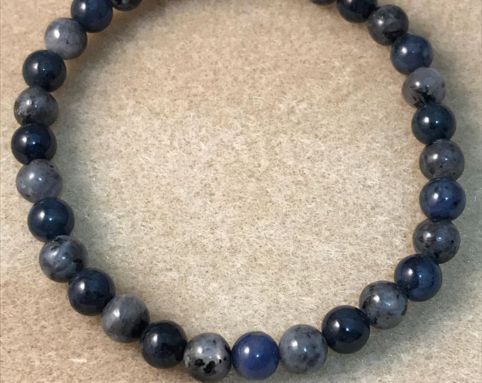 """Larvikite & Dumortierite """"Ocean Moon"""" 6mm Stretch Bead Bracelet with Sterling Silver Accent"""