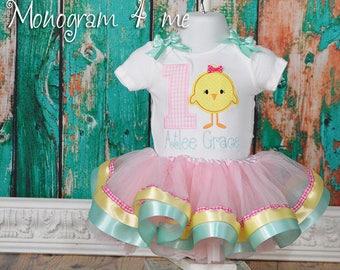 Little Chick 1st Birthday Bodysuit and Tutu, Chicken birthday, Farm Birthday tutu set