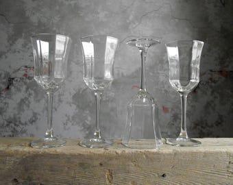 Octime Wine Glasses , Octagonal Stemware , Luminarc France , Set of 4 Clear Stem Octime Wine Glasses , Modern Stemware , Wedding Gift