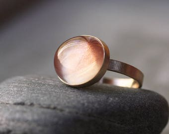 Oregon Sunstone Ring, Apricot Peach Pink Round Gemstone Gold Ring Peach Stone Ring Sunstone Jewelry  - Size 7 - Firefly