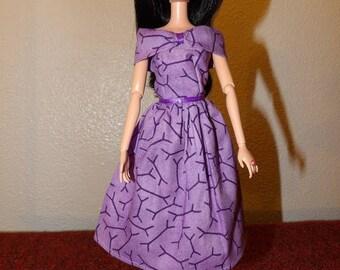 Pretty off the shoulder collar lilac purple dress for Fashion Dolls - ed1057
