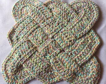 Sailor's Knot Crochet Cotton Dishcloth Hot Pad Made to Order Woven