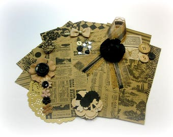 Vintage Ephemera / Paper Embellishment Kit/ Junk Journal Kit/ Inspiration Kit for Scrapbook Layouts Cards Mini Albums Tags Paper crafts