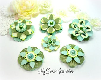 Basic Grey Hello Luscious Green Ivory Mint Paper Embellishments and Paper Flowers for Scrapbook Layouts Cards Mini Albums Tags Papercrafts