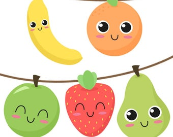 Printable fruit garland - Pear, Banana, Apple, Orange & Strawberry. Downloadable birthday party decorations