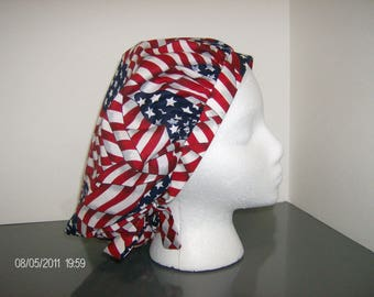 Patriotic Stars and Stripes Forever Bouffant Surgical Scrub Cap
