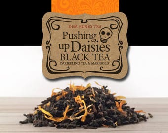 Pushing Up Daisies Loose Leaf Tea // Tea Gifts // Christmas Stocking Stuffer // Day of the Dead Tea // Gothic Tea Party //