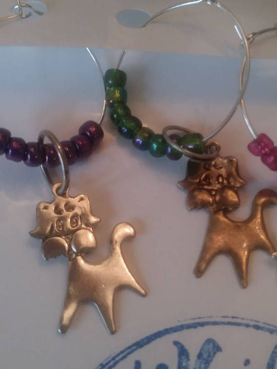 Wine glass charms-  dog charm colors set of 4/ pets/ animals/