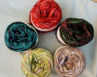 Cotton blend Ribbon Yarn Lauraine by L'Atelier 76 yards 5 colors available