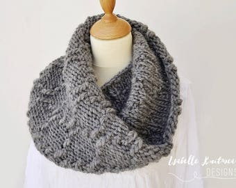 Grey Wool Cowl - Chunky Textured Gray Cowl - Choice of Trending Colors