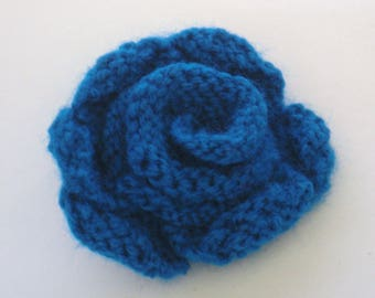 Hand Knitted Blue Flower Brooch
