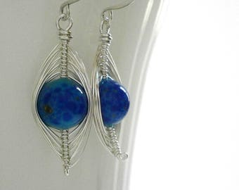 Silver Marquise Herringbone Earrings Lapis Blue Venetian Bead Earrings Sterling Silver Dangles Wire Wrapped Oval Navette Earrings