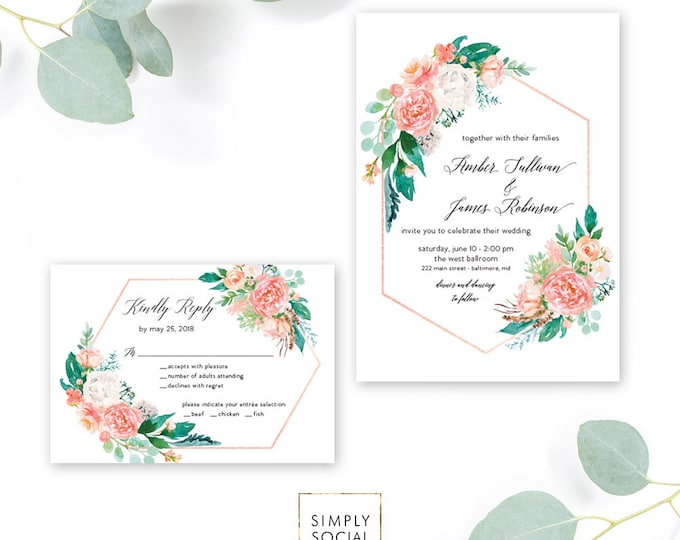 Pink Geometric Greenery Wedding Invitation Suite - Boho - Pink Floral Reply Card - Garden Wedding Invitation Rose Gold Printable