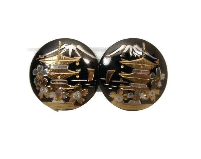 Vintage Sterling Japanese Earrings, Sterling Silver Screw Back, Pagoda Mt. Fuji, Damascene Earrings, Made in Japan, Vintage Earrings