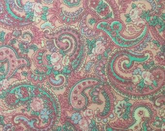 Pink Paisley Flowers - Vintage  Fabric-1 yard