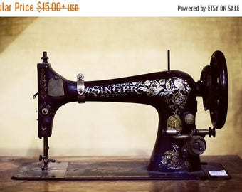 Sew Happy: antique singer Fine Art Photography sewing machine photograph craft sewing room art still life Photography