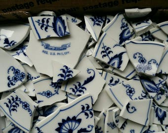 3 lbs of Blue Danube Flowers Tiles 100+
