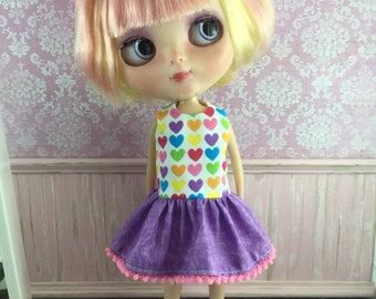 Blythe Drop Waist Dress - Rainbow Hearts