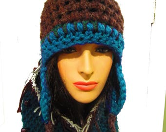 Chunky Winter Hat, Ear Flap Hat, Trapper Hat, Women's Hats, Bohemian Clothing, Boho, Festival Clothes, Hippie Clothes