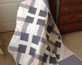 "Light Grey/Orange/White Lap Quilt - 53.5"" x 78"" - Contemporary/Modern Quilt - Ready to Ship"