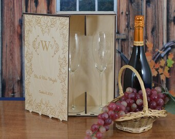 Personalized Wood Wedding Champagne Flute Gift Box with 2 Custom Etched Crystal Flutes.