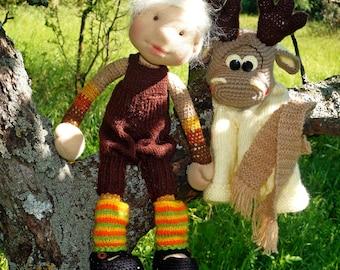 "Waldorf knitted doll Grisho15"""