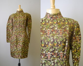1980s Asian Brocade Dress