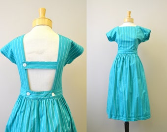 1970s Lanz Green Wavy Striped Cotton Dress
