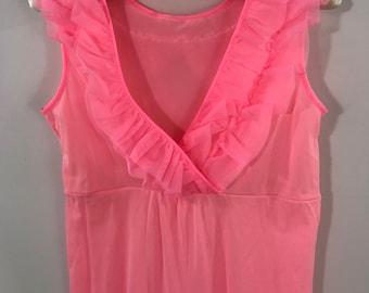 Pink Nylon Sleeveless Jumpsuit/Vintage Mid Century Ruffle Lounge Jumpsuit/60s Ruffle Palazzo pantsuit