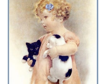 GREAT SALE Bessie Pease Gutmann's Josie Holding Friendly Enemies..Mandy and Jake Counted Cross Stitch Chart Pattern