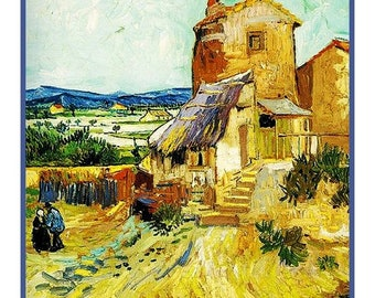 GREAT SALE Digital DOWNLOAD Vincent Van Gogh Impressionist Old Mill Counted Cross Stitch Chart / Pattern