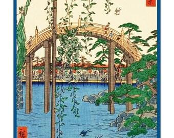 GREAT SALE Digital DOWNLOAD Kameido Tenjin Shrine Grounds by Japanese Artist Hiroshige Counted Cross Stitch Chart / Pattern