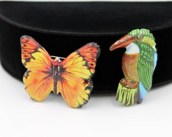Tin Litho Badge Pins, Butterfly and Kingfisher Bird, Japan ca. 1960s