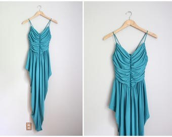 1970s disco jumpsuit - ruched 80s one piece harem romper / vintage harem jumpsuit - 70s draped romper / teal polyester jumpsuit