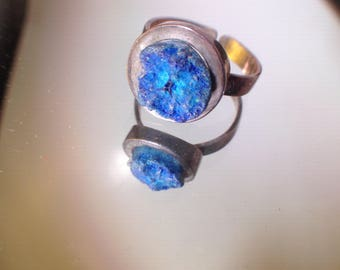 Abstract Azurite Nodule Geode Ring Sterling Vintage Ring