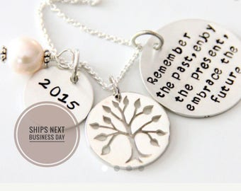 Retirement Necklace For mom - Retirement - Co worker Gift -  Remember The Past Necklace - Retirement Gift Ideas - Military Retirement Woman