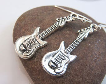 Silver guitar earrings - silver guitar charm earrings - music earrings - musicians gift - silver charm earrings