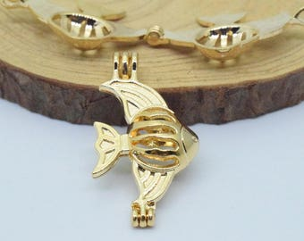 Fish Bead Cage-5pcs 18x32mm Gold Plated Alloy Essential Oil Diffuser Pendant Perfume Locket Hollow Pearl Bead Cage Pendant C8494