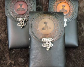 Instock 8oz Hip Flask or Cell Phone Leather Belt Pouch, Mjilnor, Thor's Hammer
